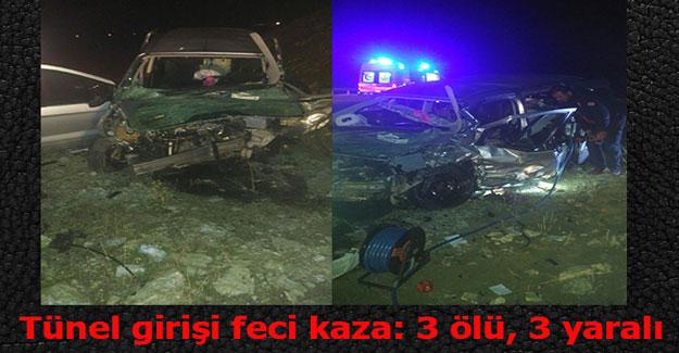 Göksun'da tünelde feci kaza: 3 ölü, 3 yaralı