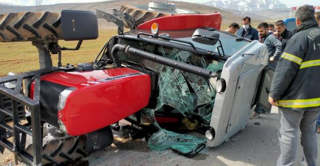 Elbistan'da devrilen traktörün sürücüsü yaralandı