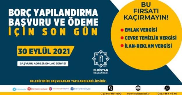 Elbistan Belediyesi'nden uyarı; son tarih 30 Eylül